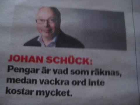 Johan Schück om pengar