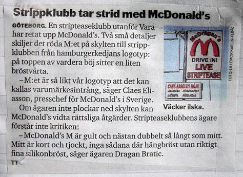 Strippklubb tar strid med McDonalds