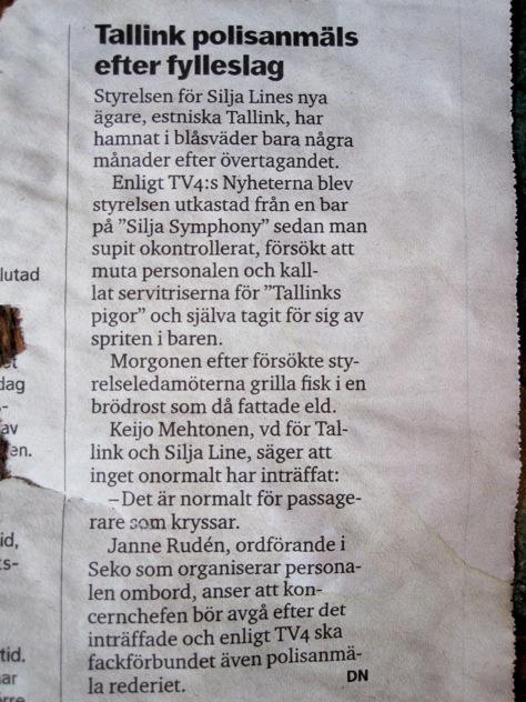 Tallink polisanmäls efter fylleslag